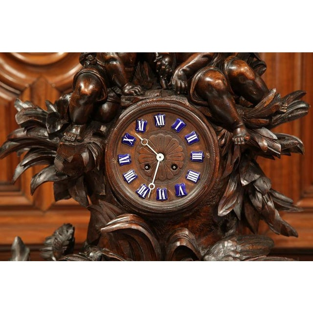 Black Forest 19th Century Swiss Carved Walnut Black Forest Mantel Clock For Sale - Image 3 of 10