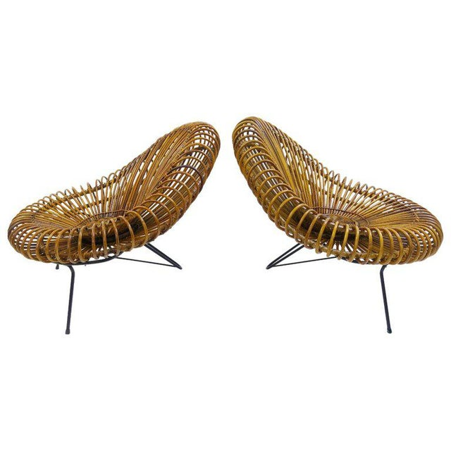 Brown Sculptural Rattan Lounge Chair by Franco Albini For Sale - Image 8 of 8