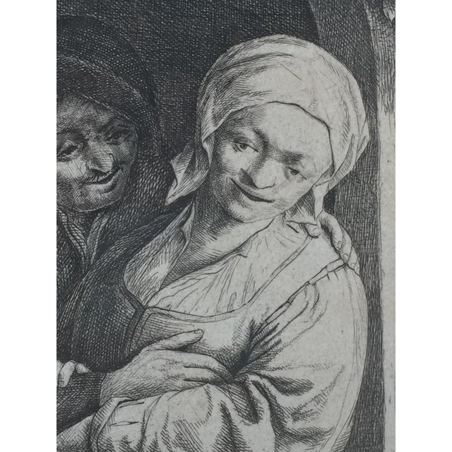 Antique Dutch 'Village Romance' Etching 1667 by Adrian Van Ostade For Sale - Image 4 of 5