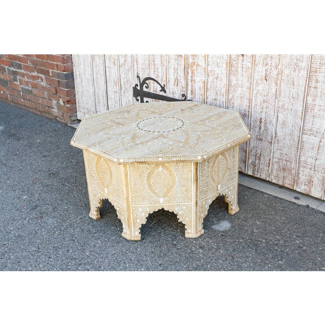 1990s Charming Anglo Indian Farmhouse Lotus Inlaid Coffee Table For Sale - Image 5 of 13