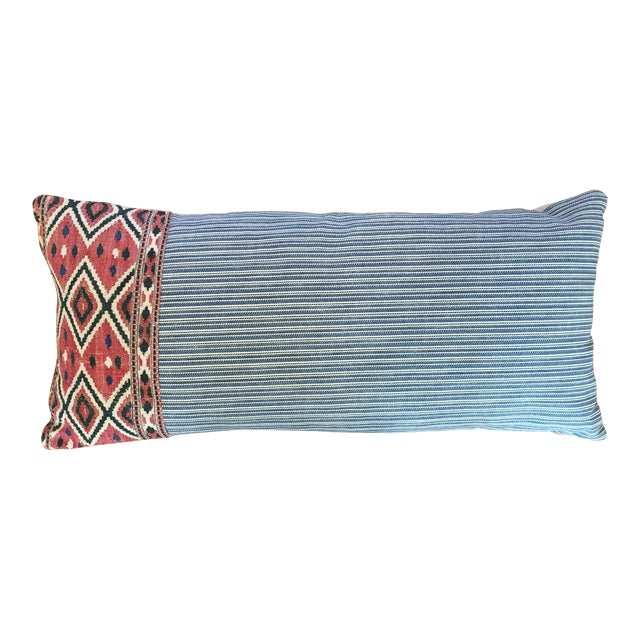 One of a Kind Pillow With Vintage Textile Trim For Sale