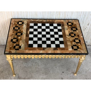 20th Century Ormolu Mounted Bronze Game of Chess With Marble and Onix Top Table Preview