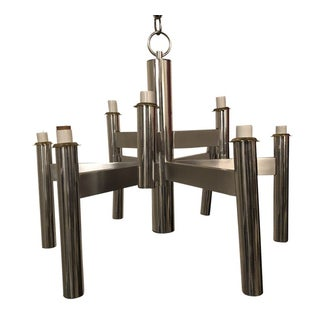 Vintage Gaetano Sciolari Brushed Chrome and Brass Chandelier For Sale