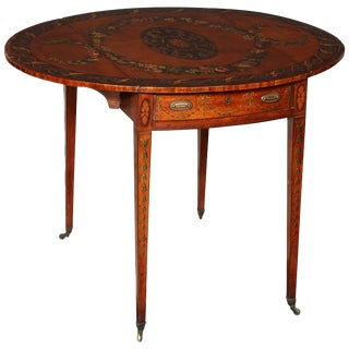 18th Century George III (Adam) Satinwood Paint Decorated Pembroke Table For Sale