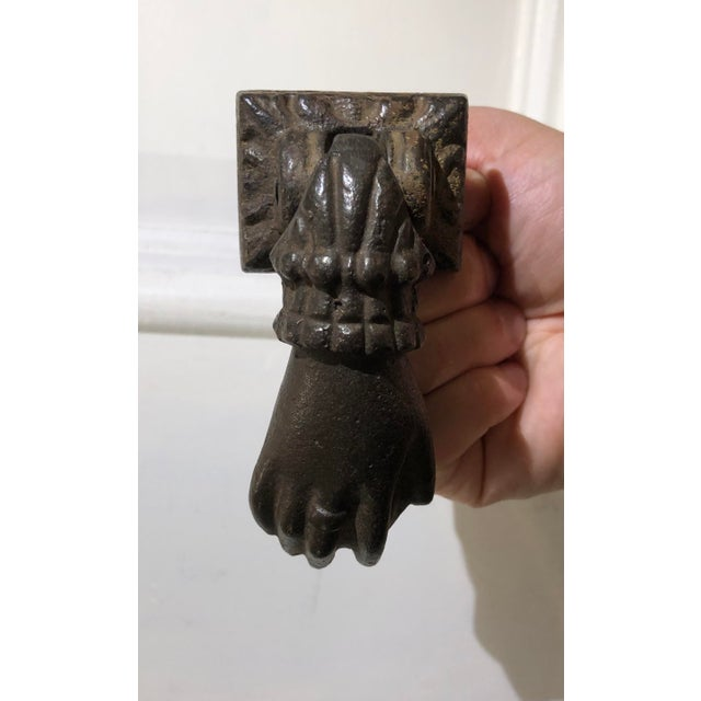 Antique Cast Iron Door Knocker Hand and Ball For Sale In Los Angeles - Image 6 of 6