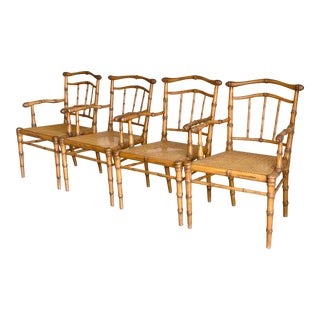Vintage Carved Wood Bamboo and Cane Armchairs - Set of 4 For Sale