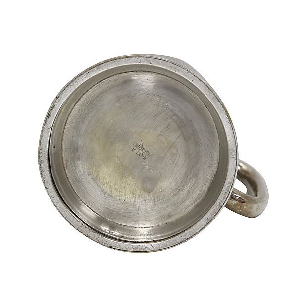 """English silver-plate trophy tankard with """"Sussex Dog Show Best In Show Bulldog Buster"""" monogram on front. Maker's mark on..."""