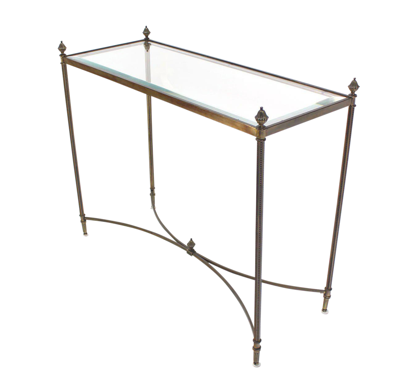 Fine Brass Base Glass Top Console Or Sofa Table Decaso