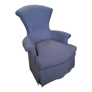 Rose Tarlow Eugenie Armchair in Navy Blue For Sale