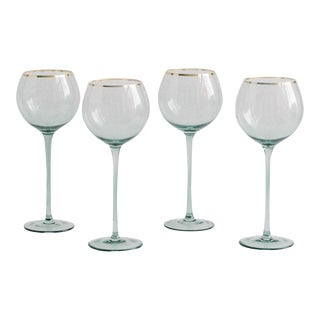Siren Beverageware Sage + Gold White Wine - Set of 4 For Sale