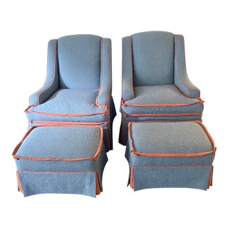 Custom Made Large Swivel Chairs With Ottomans - 4 Pieces For Sale