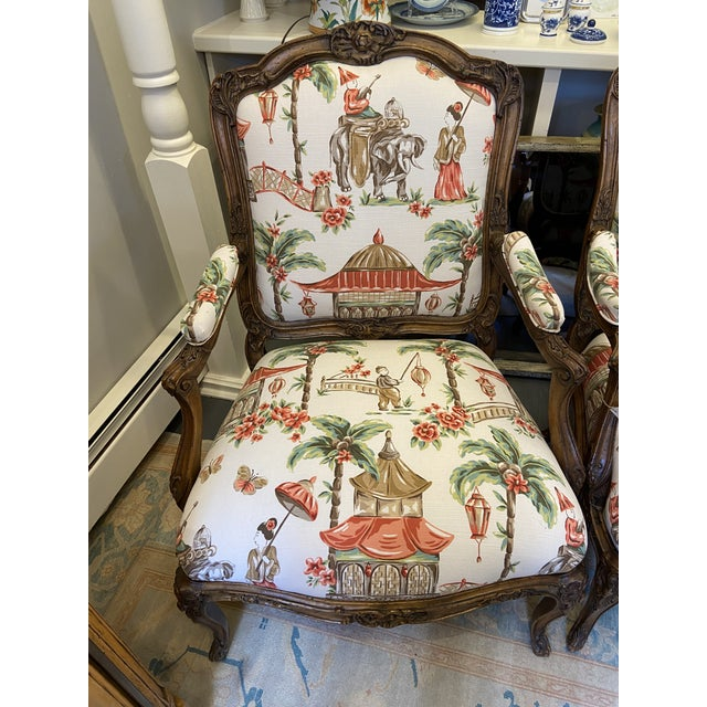 Chinoiserie 1920s French Carved Wood Chairs with Chinoiserie Fabric - a Pair For Sale - Image 3 of 10