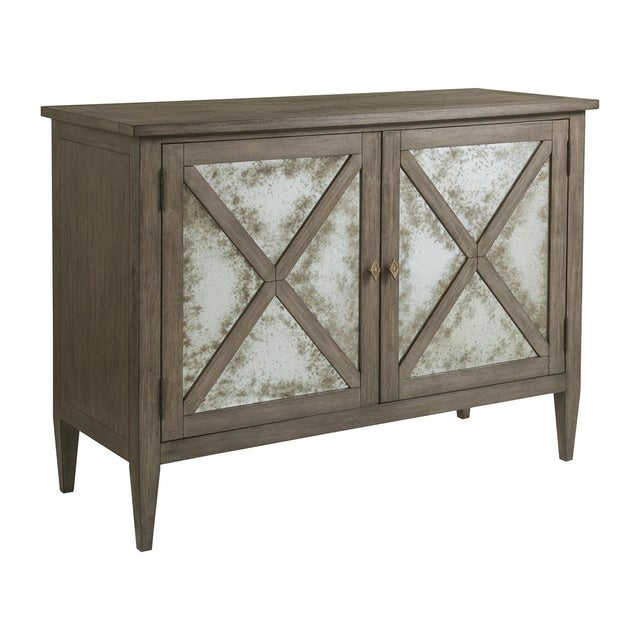 Glass Transitional Bleached Mahogany Mirrored Buffet For Sale - Image 7 of 7
