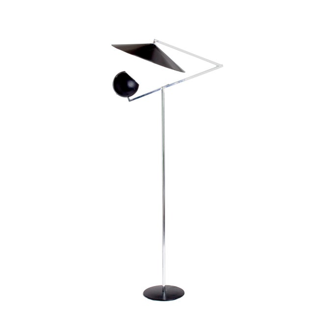 Metal 1960s Vintage Robert Sonneman Architectural Chrome and Black Articulated Floor Lamp For Sale - Image 7 of 7