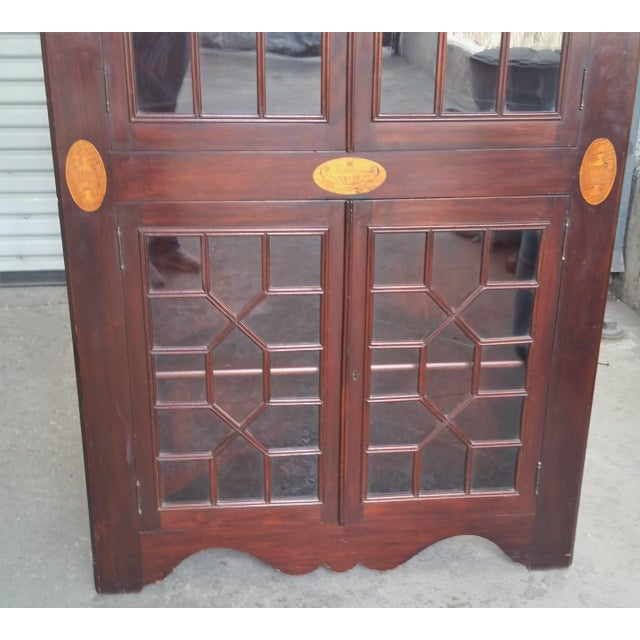 Antique Mahogany Corner China Cabinet For Sale In Los Angeles - Image 6 of 13