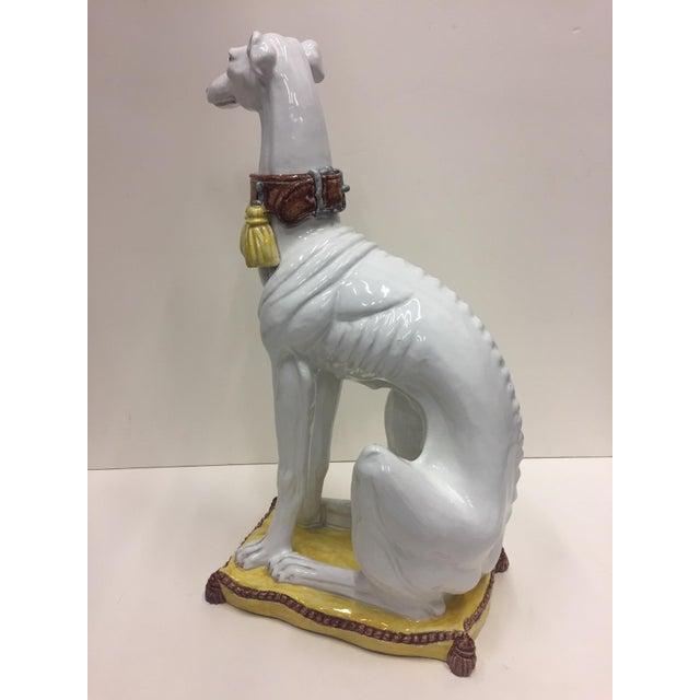 Ceramic Glazed Terracotta Greyhound Sculpture For Sale - Image 7 of 13