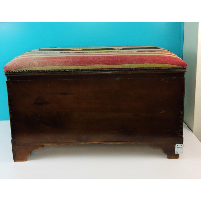 Antique Turkish Kilim Cedar Storage Trunk Bench For Sale - Image 10 of 10