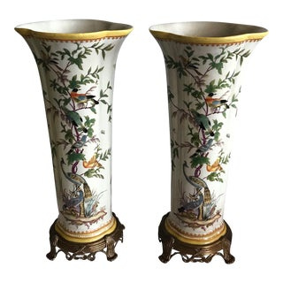 Fluted Porcelain and Brass Vases With a Crackle Finish, Peacocks and Birds - a Pair For Sale
