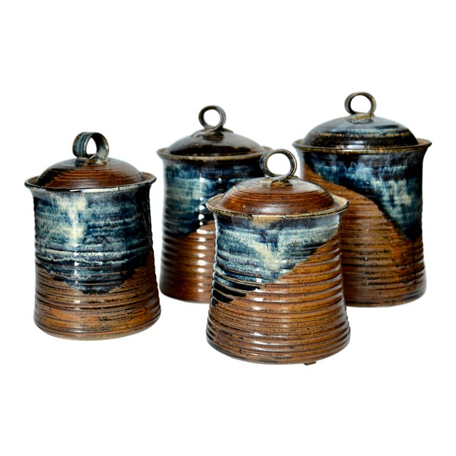 Vintage Mid Century Stoneware Pottery Canister- Set of 4 For Sale