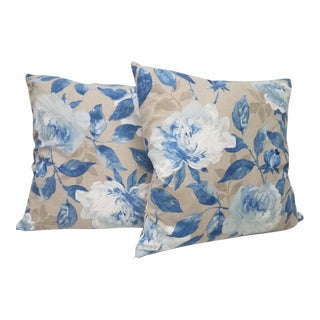 Large English Blue and White Floral Pillows - a Pair For Sale