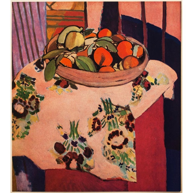 "A beautiful original period tipped-in offset lithograph after still life ""Oranges"" (1912) by Henri Matisse. Signed in the..."