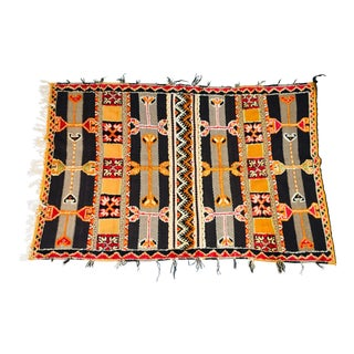 Moroccan Berber Vintage Tribal African Geometric Wool Rug - 4′5″ × 6′10″ For Sale