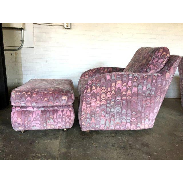 Clyde Pearson Chairs and Ottomans in Jack Lenor Larsen Fabric - Set of 4 For Sale - Image 10 of 11