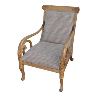 Trouvailles Hand-Carved Lounge Chair For Sale