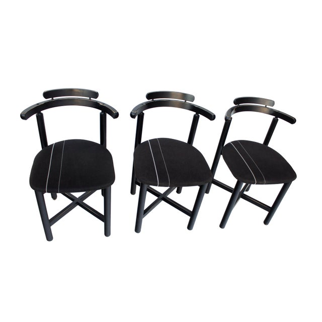 1970s Set of 3 Danish Dining Chairs With Striped Seats For Sale - Image 5 of 12