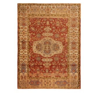 Antique Kayseri Russet Red and Beige Wool Floral Rug- 4′ × 6′ For Sale