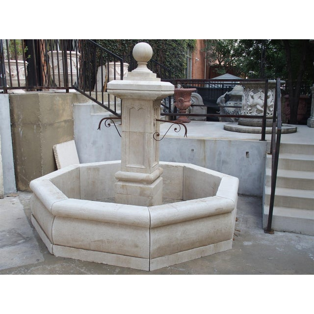 French Carved Octogonal Limestone Center Fountain from Provence For Sale - Image 3 of 5