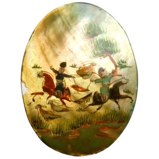 Hand Painted Artisan Mother of Pearl Warrior Scene Brooch C 1960 For Sale