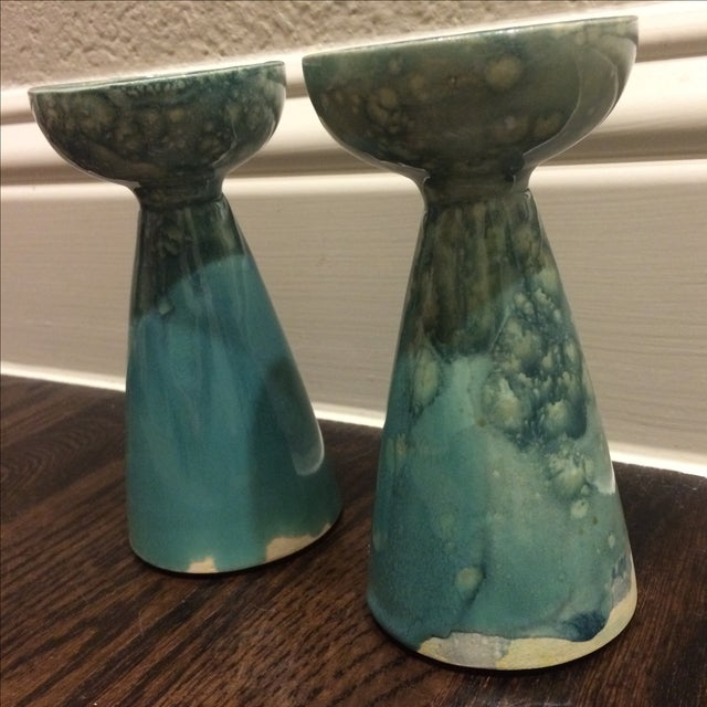 Rustic Turquoise Ceramic Candlesticks - A Pair - Image 4 of 8
