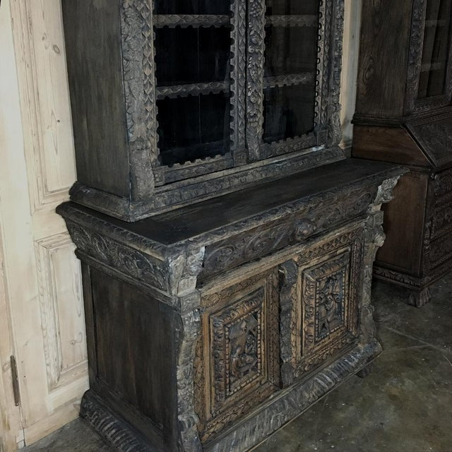19th Century English Renaissance Weathered Oak Bookcase For Sale In Baton Rouge - Image 6 of 11