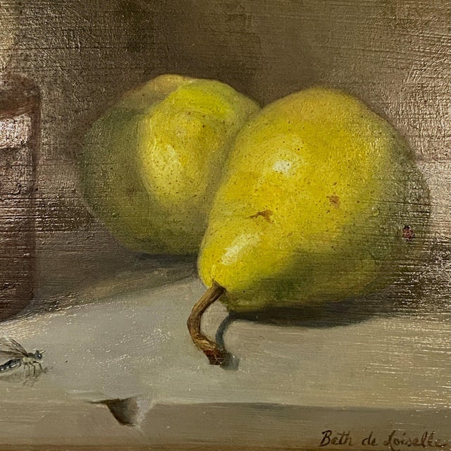 Traditional Contemporary Still Life With Pears Oil Painting by Beth DeLoiselle, Framed For Sale - Image 3 of 6