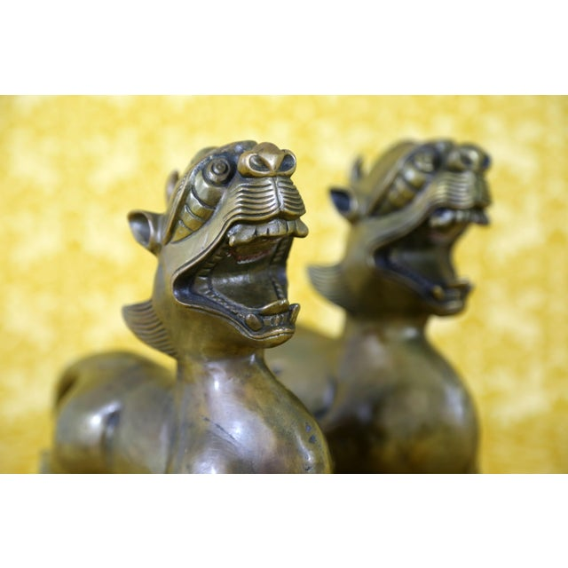 Vintage Brass Foo Dogs - A Pair - Image 4 of 9