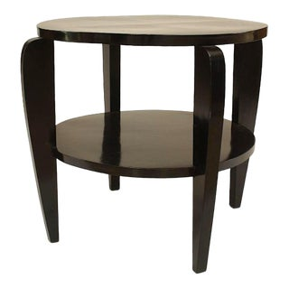 Italian 1940s Ebonized Round End Table For Sale