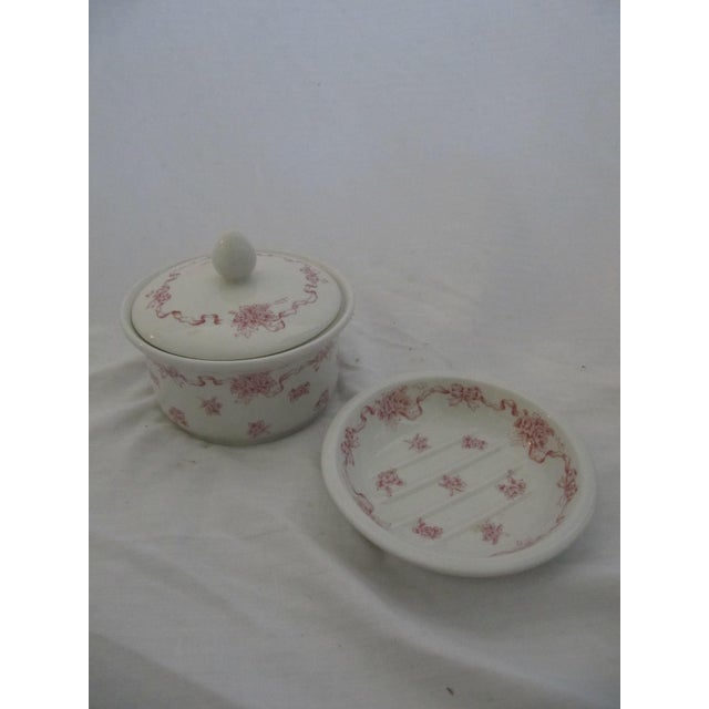 Vintage Laura Ashley Pink Ribbons Vanity Set-4 Pieces For Sale - Image 4 of 6