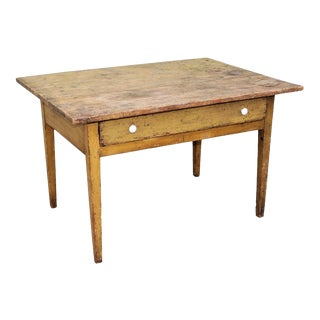 19th Century Original Mustard Painted Farm Table For Sale
