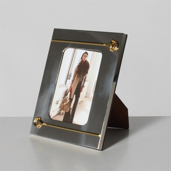 Mid-Century Modern Silver and Gold Gucci Picture Frame, C. 1940 For Sale - Image 3 of 3