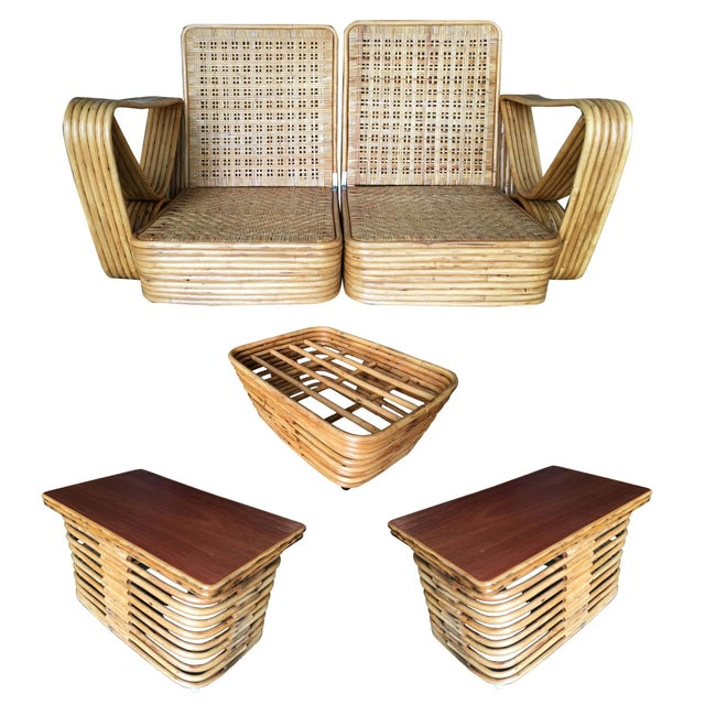 Restored Paul Frankl Six-Strand Wicker Rattan Sofa Living-Room Set W/ Side Table and Ottoman For Sale - Image 10 of 10