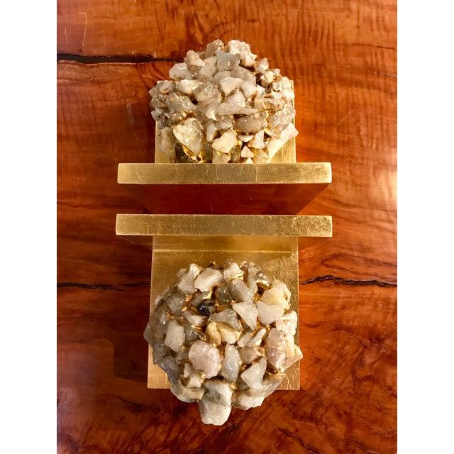 Quartz Stone Gold Leaf Bookends - A Pair - Image 8 of 9