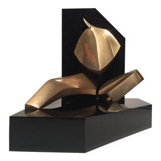 1970s Vintage Italian D Delo Modernist Brass Figurative Sculpture For Sale