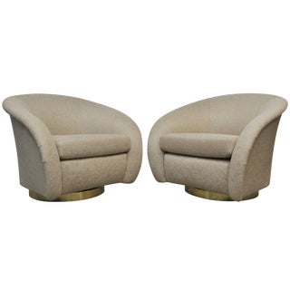 Milo Baughman Swivel Chairs on Brass Bases For Sale
