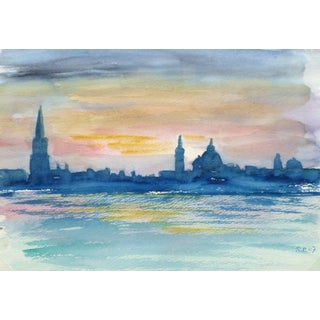 French Watercolor - Twilight Skyline For Sale