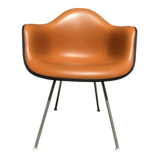 1960s Vintage Eames Orange Naugahyde Lounge Armchair by Herman Miller For Sale