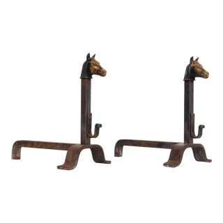 Antique French Bronze Horse Head Andirons - a Pair For Sale