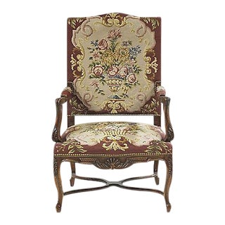 Antique Regency-Style Fruitwood Fauteuil For Sale