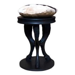 Carved Wood Cloven Hooved Stool/Table