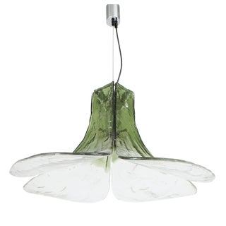 Petal Green and Clear Glass Pendant Light by Carlo Nason for Mazzega